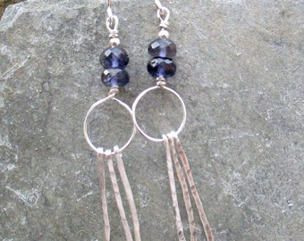 Sterling Silver earrings with Iolite, Long silver & dark blue earrings