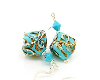 Turquoise Blue Earrings, Lampwork Earrings, Glass Bead Earrings, Unique Earrings, Southwestern Earrings, Beadwork Earrings, Lampwork Jewelry