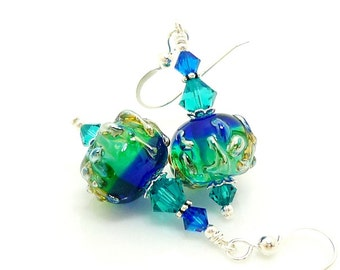 Blue Green Earrings, Lampwork Earrings, Glass Bead Earrings, Unique Earrings, Glass Beads Jewelry, Dangle Earrings, Glass Earrings