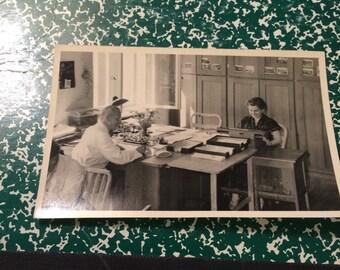 Dwight D Eisenhower postcard photograph at work. Rare