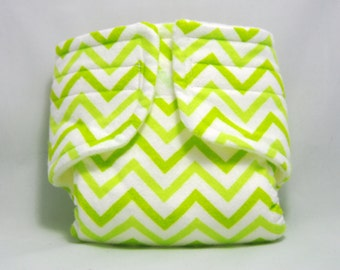 Baby Doll Diaper Lime Green Chevron - Size Large