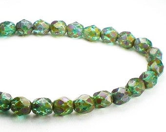 Aqua Picasso Czech Glass Fire Polished 6mm Faceted Round Beads 30 pcs. 6mm/145