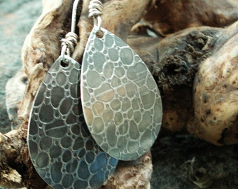 Elegant Teardrops--Textured silver earrings, bubble pattern, patinaed. Chic, Bold, Rustic