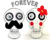 Moustache Sugar Skull Day of the Dead Sewing Tutorial Mexican Wedding Couple Bride & Groom