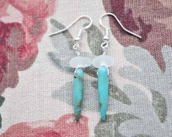 Genuine Sea Glass Earrings Featuring White and Turquoise Sterling Silver 7890C