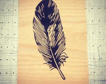Feather - Screen print on wood veneer // Plume - Sérigraphie sur placage de bois