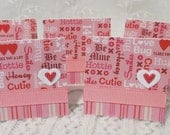 Mini note cards, handmade mini tags, pink and red, Valentine's day theme, hearts and stripes, set of 18