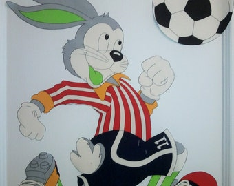 Huge Bugs Bunny playing soccer fabric cut out