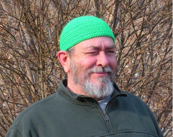 Manly Short Hat Crocheted in Neon Green