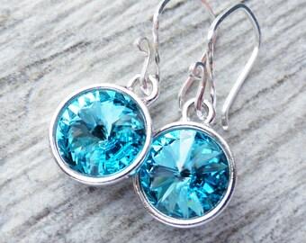 Light Turquoise Blue Crystal Earrings, Crystal Rivoli Round Earrings, Sterling Silver Dangle Earrings, Light Blue Summer Earrings, Spring