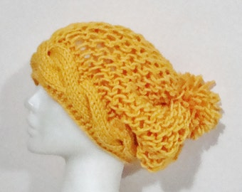 Hand Knit Hat Womens Hat Slouchy Hat Mustard Yellow Hat gift for girlfriend