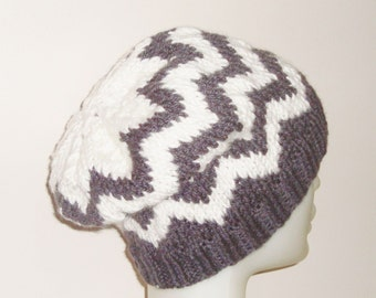Knit Womens Hat Women's Winter Hat with Chevron in Grey, White Hand Knitted Women Hat, Womens Gifts for Her