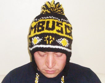 Mens hats with ear flaps hat, men personalized hand knit men winter hat, COLUMBUS CREW, black, yellow, white, personalized gift for him