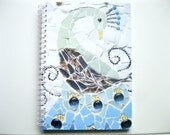 SALE- HALF PRICE!!!  A5 shabby chic notebook featuring a printed mosaic peacock