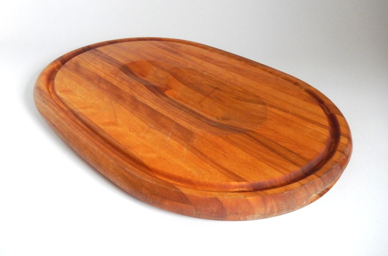 vintage thick oak butcher block meat tray cutting board