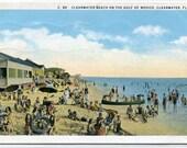 Beach Scene Clearwater Florida 1933 postcard