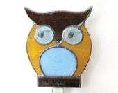 Nursery Nightlight Stained Glass Night Light Owl Brown Blue Boy Nursery Handmade OOAK