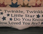 UNSTUFFED Primitive Pillow COVER Twinkle Twinkle Little Star Nursery Rhyme Kids Room Primitive Country Home Decor Decoration Tan wvluckygirl