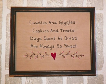 """UNFRAMED Primitive Sampler Stitchery Picture OMA New Baby Gift Idea Shower Present Country Home Decor 8 x 10""""  Rustic Decoration wvluckygirl"""
