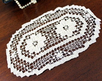 Vintage Filet Lace Doily - White Lacy Cotton Doiles 12067