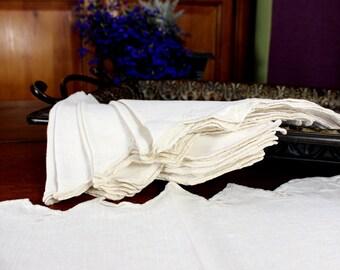 6 Linen Napkins, Vintage Set of Wheat Table Linens, Set of Serviettes 12366