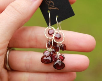 Garnet Earring, Silver or Gold, January Birthstone, Maroon Jewelry, Gemstone Waterfall, Garnet Earrings, Simple, Delicate, Free Shipping