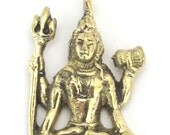 Hindu Lord Shiva seated with trident and dumru brass pendant - CP041