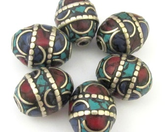 2 BEADS - Large 20 mm x 16 mm size Oval shape Tibetan brass beads with turquoise coral and lapis inlay - BD629