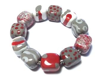 Kazuri Bangle, Red Grey and White Ceramic Bracelet