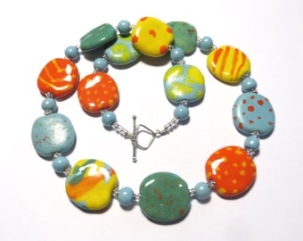 Kazuri Bead Necklace, Fair Trade Necklace, Ceramic Necklace, Yellow Orange Blue and Spearmint Necklace