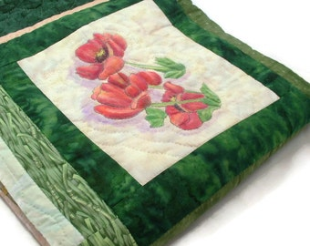 Hand Painted, Hand Quilted, Throw size,Art Quilt, Texas Wild Flowers,Greens, Red, Yellow, Orange, Color safe, Bluebonnets, Paintbrush,