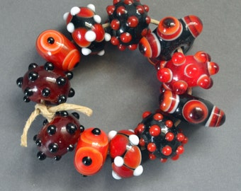 Handmade Lampwork Beads - Red, Black, Orange, White - LB0049