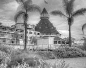 Coronado Hotel San Diego, Black and white photography, Fine art photography, black and white architecture, California photo, Coronado Hotel