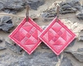 Set of Two Square Pot Holders / Hot Pads in Pink Vintage Fabrics
