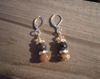 Sunstone, Larvikite, and Swarovski Crystal Dangle Earrings