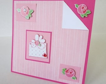 Pink Roses And Gift Box Christian Wedding Or Anniversary Card With Scripture