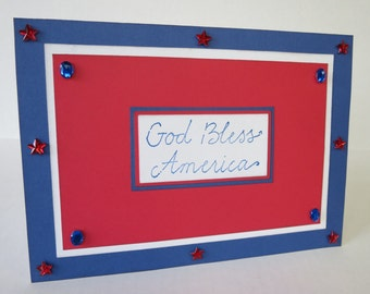 God Bless America Red And Blue Jeweled Blank Fourth Of July Card