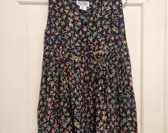 80s Floral Swirl Print Babydoll Tank Dress