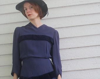 1940s Dress Purple Velvet Pleated Vintage 40s New York Creation S