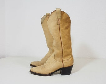 Vintage Tan Leather Tall Western Boots Size 6 Womens