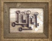 vintage ornate skeleton keys - 7 old victorian keys - vintage iron keys. (S-21c)