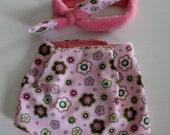 Pink Bandana Bib and Coordinating Hair Band: Bib 'n Bow Baby Girl Gift, Baby Girl Shower Gift