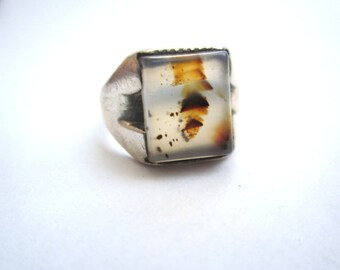 Sterling Moss Agate Ring - Sz 8