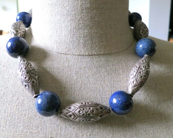On Sale!  Vintage Large Lapis Lazuli ball beads and hand made tube silver beads necklace from Pakistan.