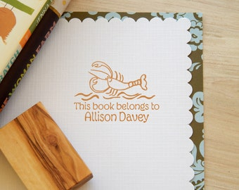 Friendly Lobster Olive Wood Bookplate  Stamp
