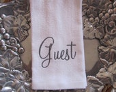 Guest or Your Name - Personalized (Choose Towel Color and Thread Color) - Fingertip Velour Bathroom Towel 11x18 - JD Designs