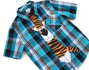 Kids Tiger Tie, Boys Neck Tie, Children's Neck Tie, Dress Up Tie, Custom MADE TO ORDER