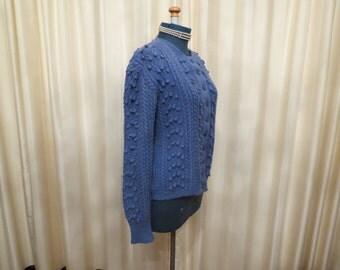 Vintage 70s 80s Handmade Wool Greyish Blue Knitted Cardigan Sweater