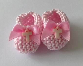 Girl baptism decorations: mini knit pale pink booties with pink bows and blush pink mother of pearl (MOP) crosses - 2 inches