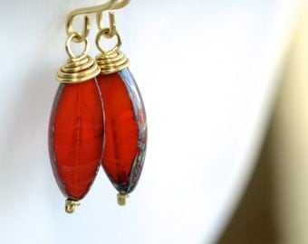 Rustic Orange Earrings - 'Childish Anticipation'